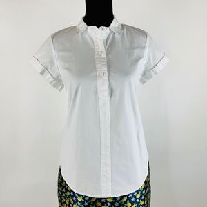 J.CREW Button Down Short-Sleeve Blouse Top Size M